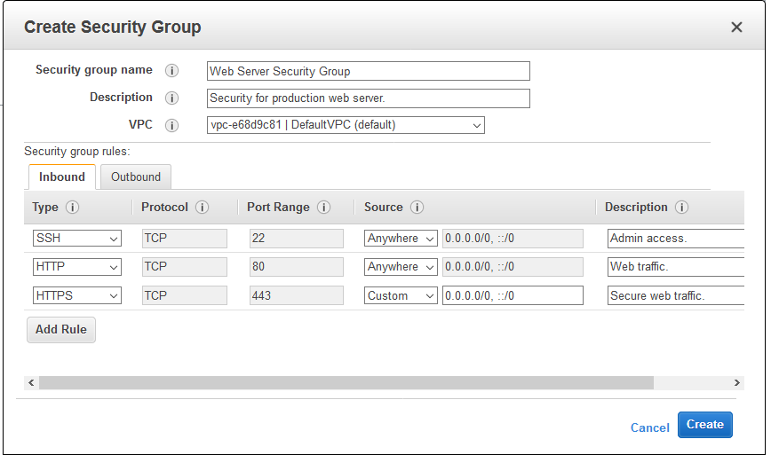 Create security groups in aws ec2